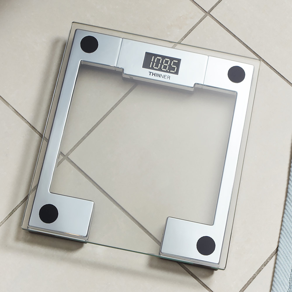 Conair MS-8140WH Thinner Digital Glass Scale with Chrome Frame