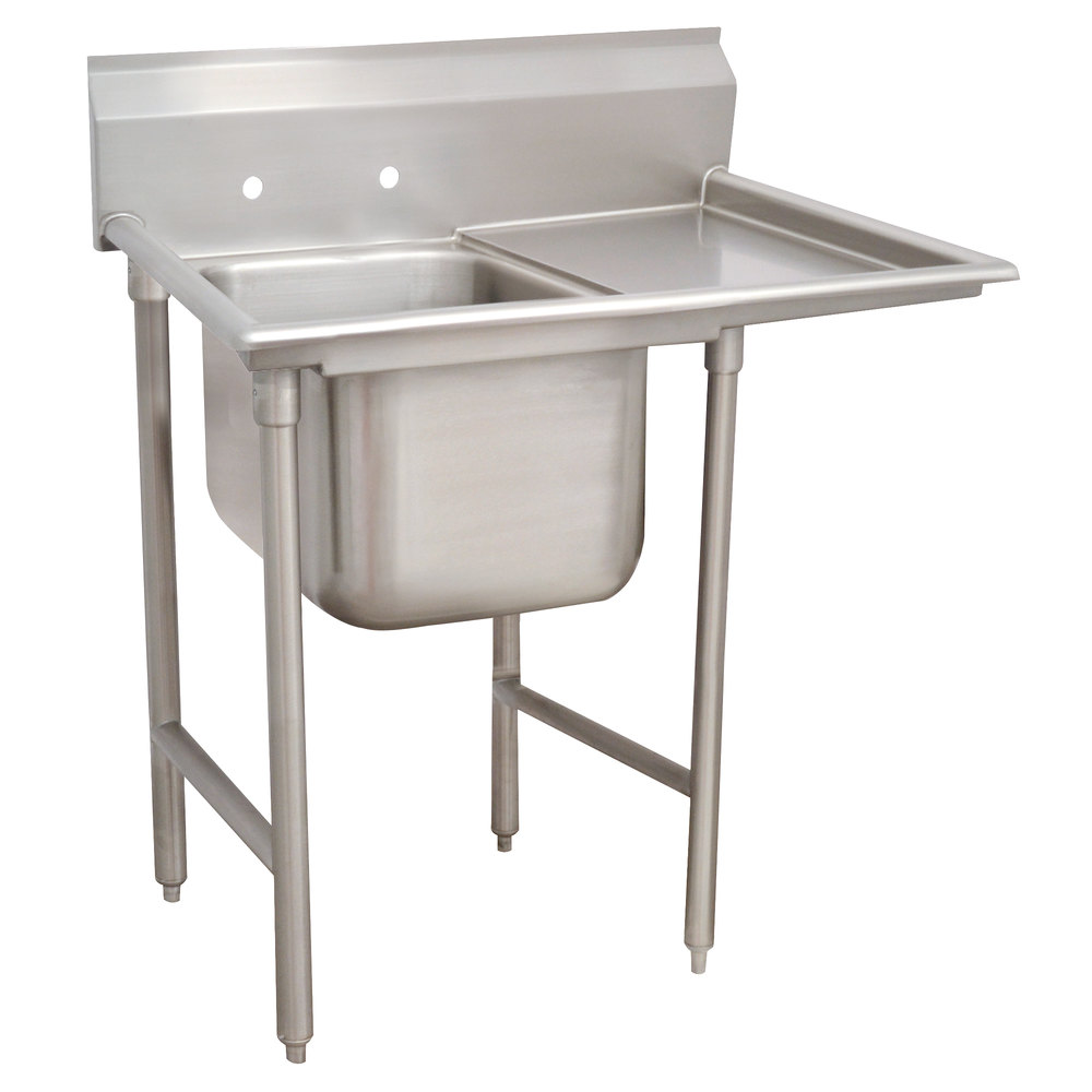 Right Drainboard Advance Tabco 93-41-24-24 Regaline One Compartment Stainless Steel Sink with One Drainboard - 54""