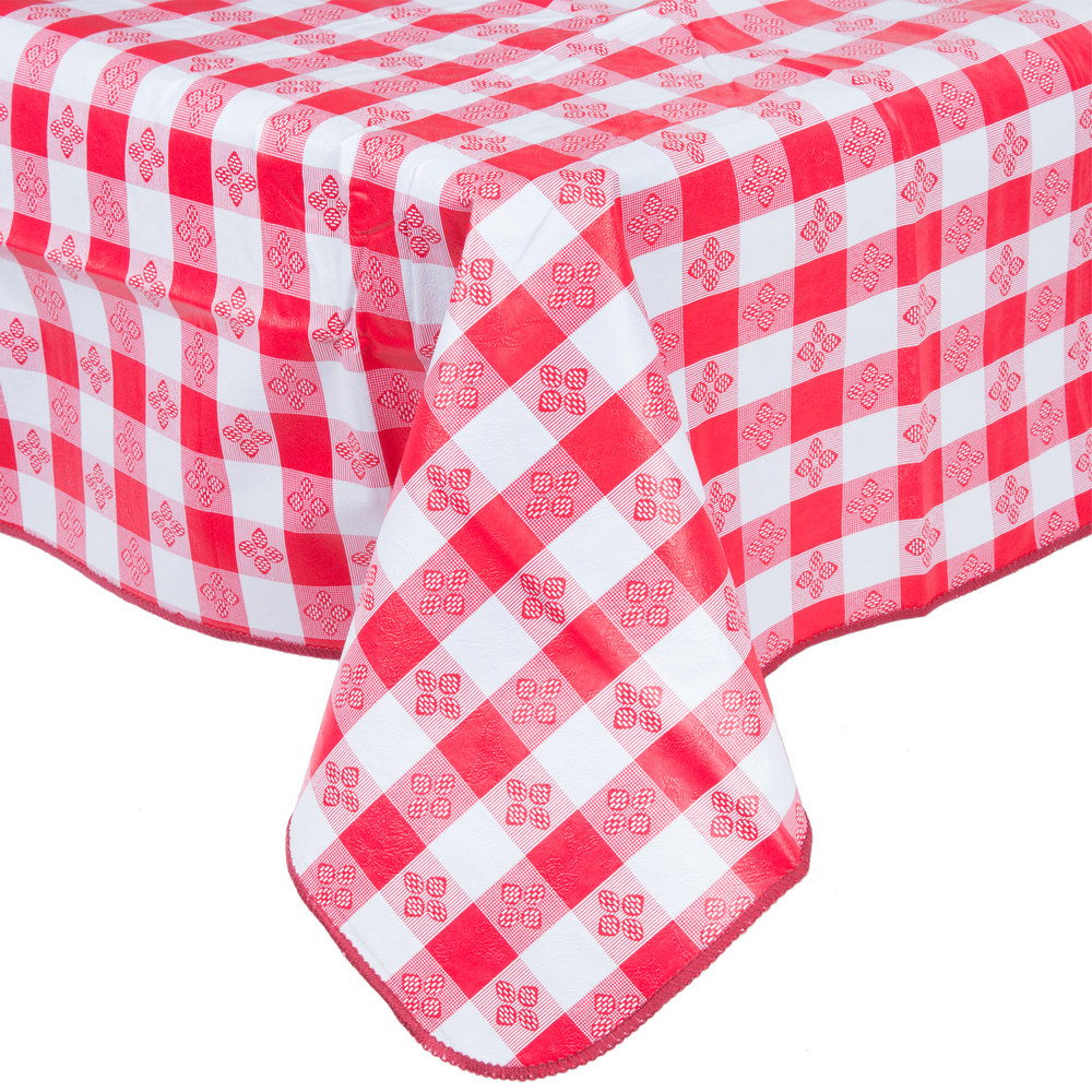 52 Quot X 52 Quot Red Checkered Gingham Vinyl Table Cover With