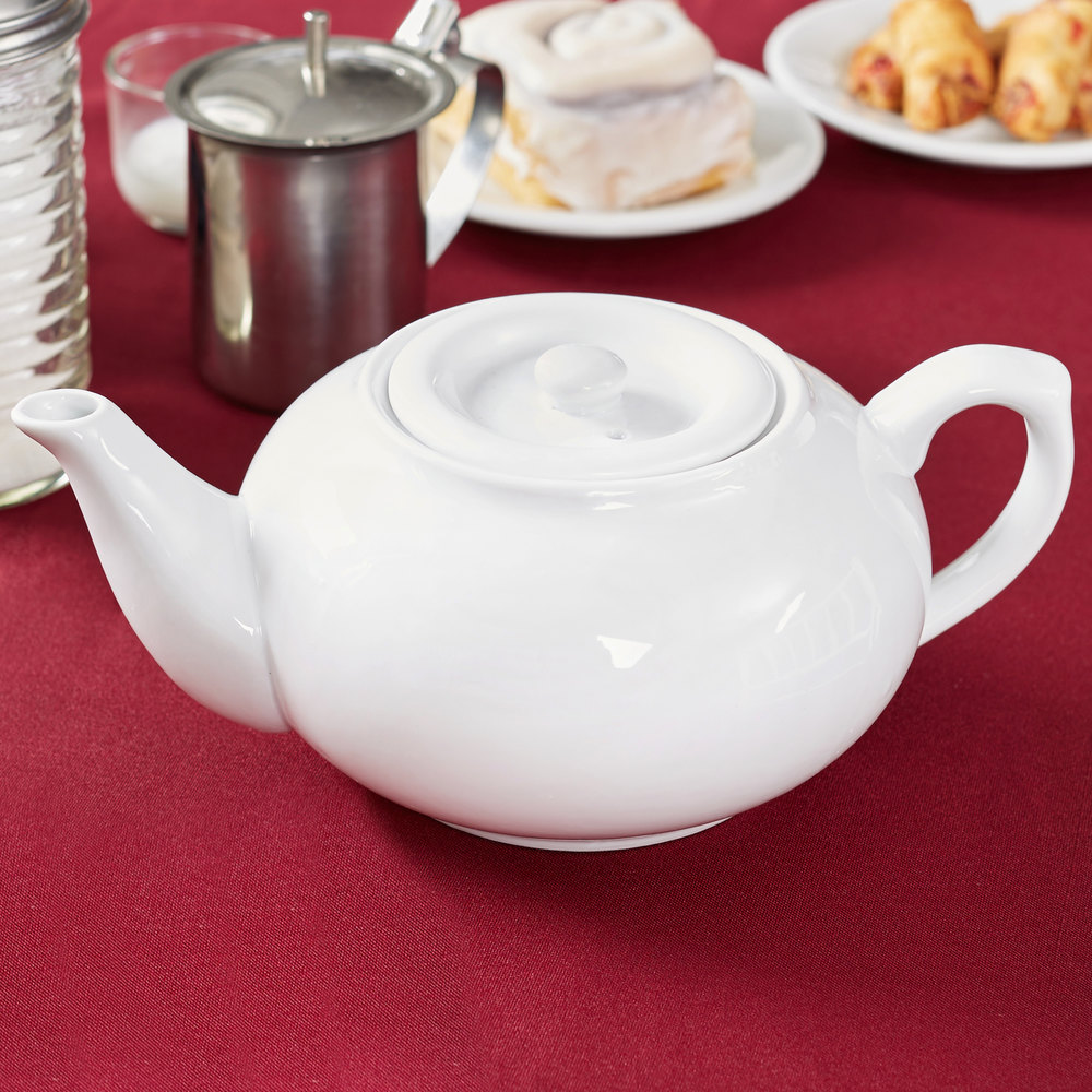 32 oz. White Teapot with Sunken Lid