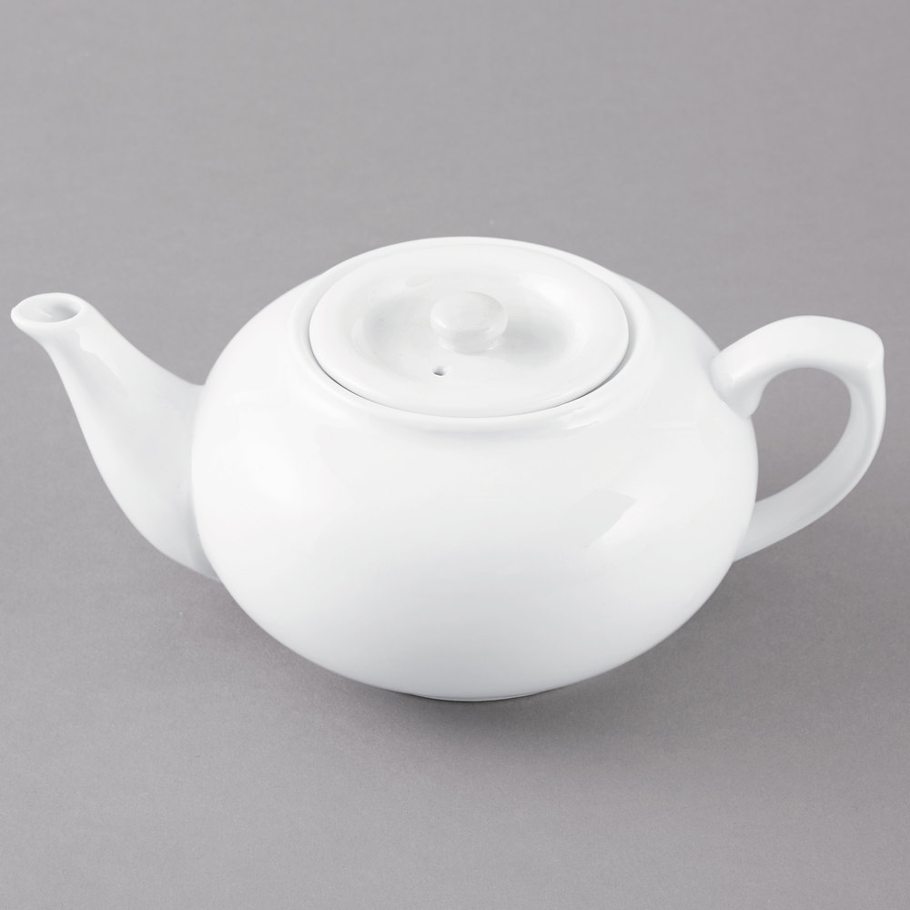 Oz white teapot with sunken lid