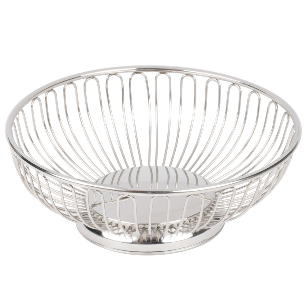 "American Metalcraft BSS11 11"" Round Stainless Steel Basket"