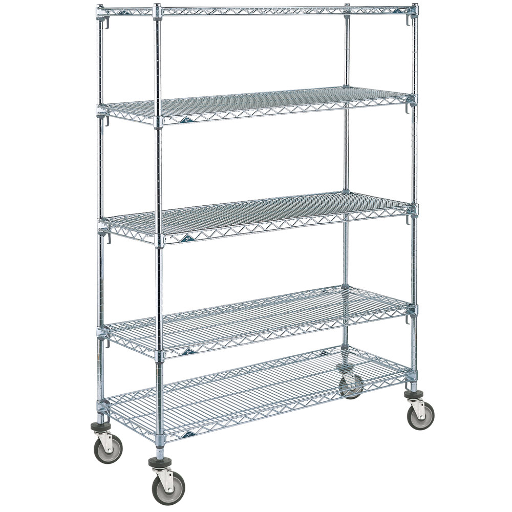 "Metro 5A566EC Super Adjustable Chrome 5 Tier Mobile Shelving Unit with Polyurethane Casters - 24"" x 60"" x 69"""