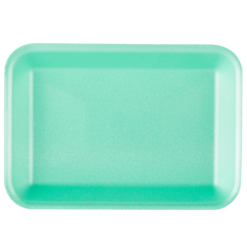 "Genpak 1002 (#2) Green 8 1/4"" x 5 3/4"" x 1"" Foam Supermarket Tray - 500 / Case"