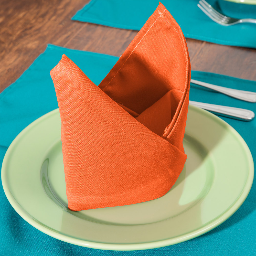 "18"" x 18"" Orange Hemmed Polyspun Cloth Napkin - 12/Pack"