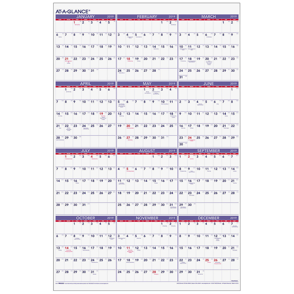 "At-A-Glance PM1228 24"" X 36"" Yearly January 2019"