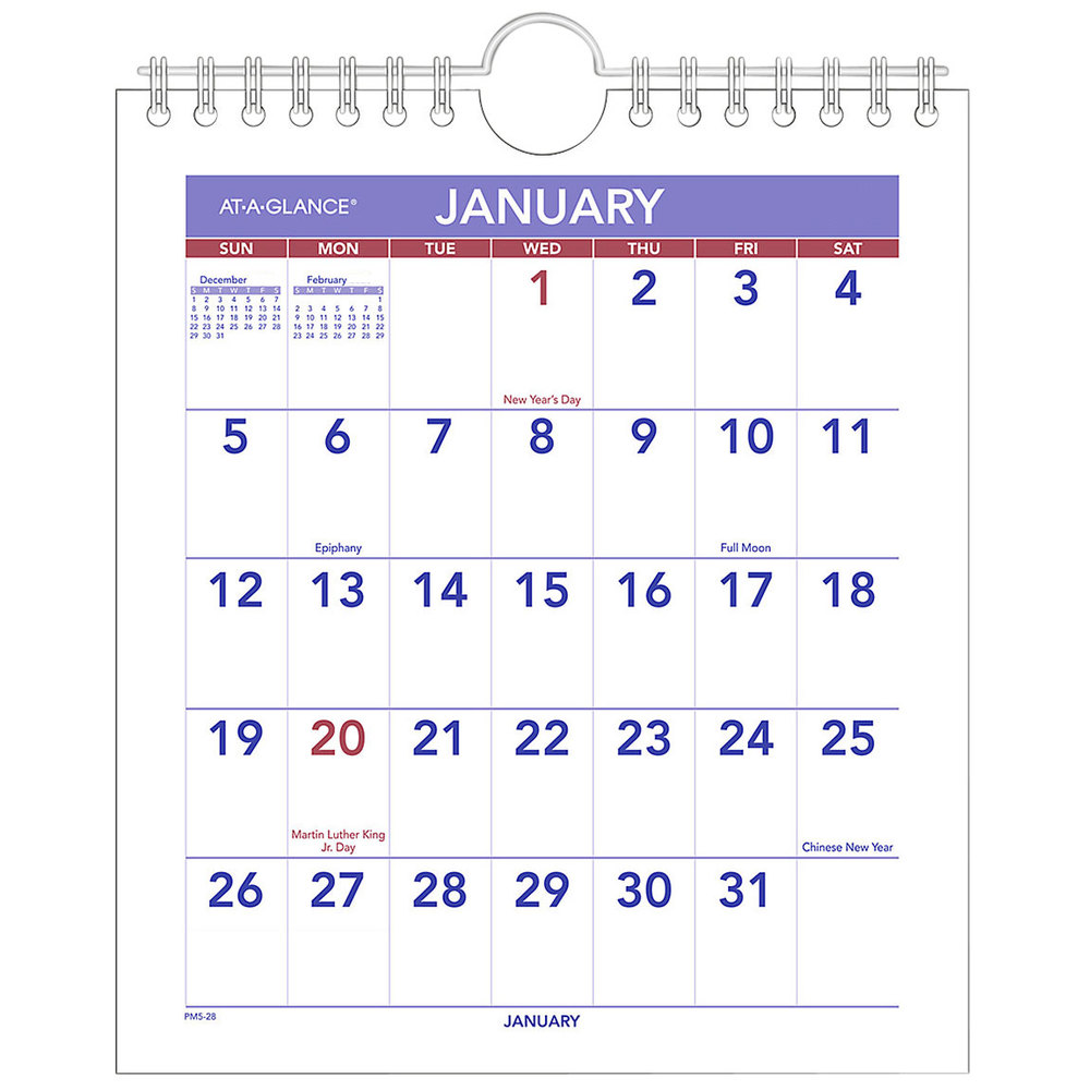 """At-A-Glance PM528 6 1/2"""" x 7 1/2"""" Mini Monthly January ..."""
