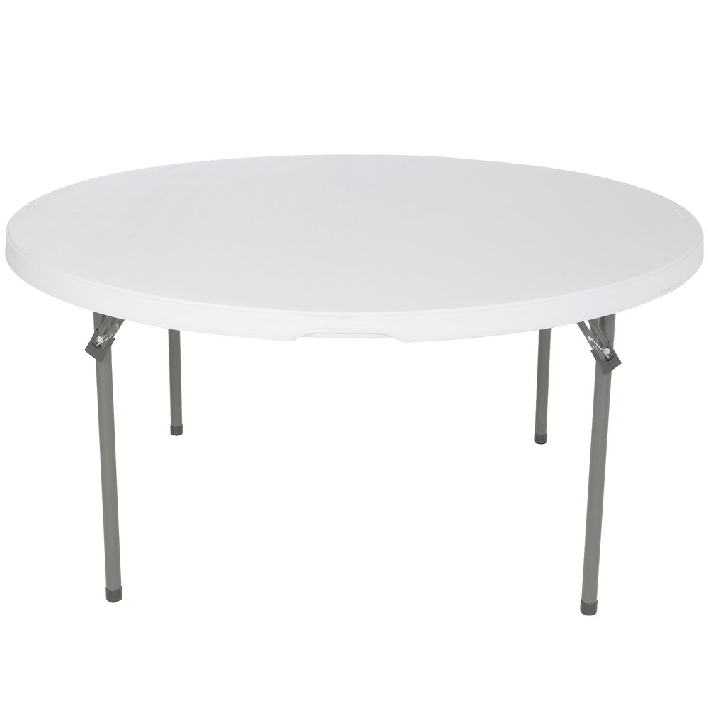 Lifetime Round Folding Table 60 Plastic White Granite