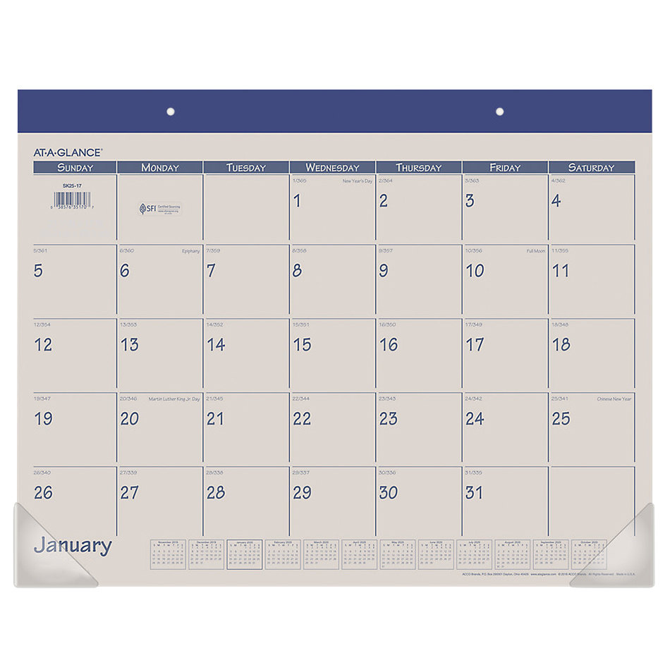 """At-A-Glance SK2517 22"""" x 17"""" Blue Monthly January 2021 ..."""