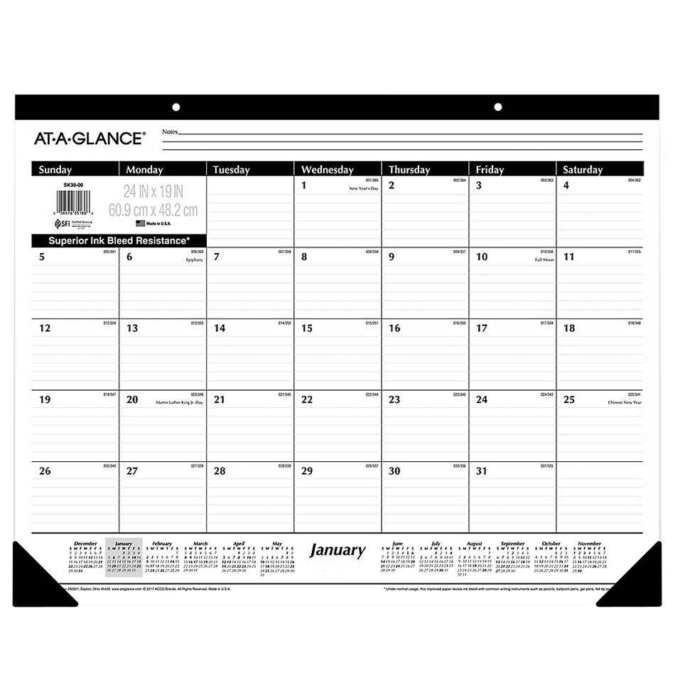 """At-A-Glance SK3000 24"""" x 19"""" Monthly January 2021 ..."""