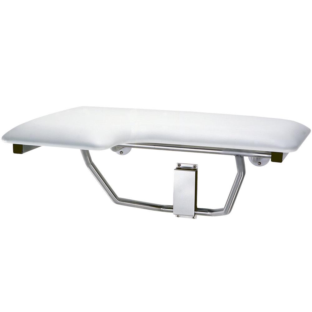 bobrick b517 white righthanded folding shower seat with padded cushion