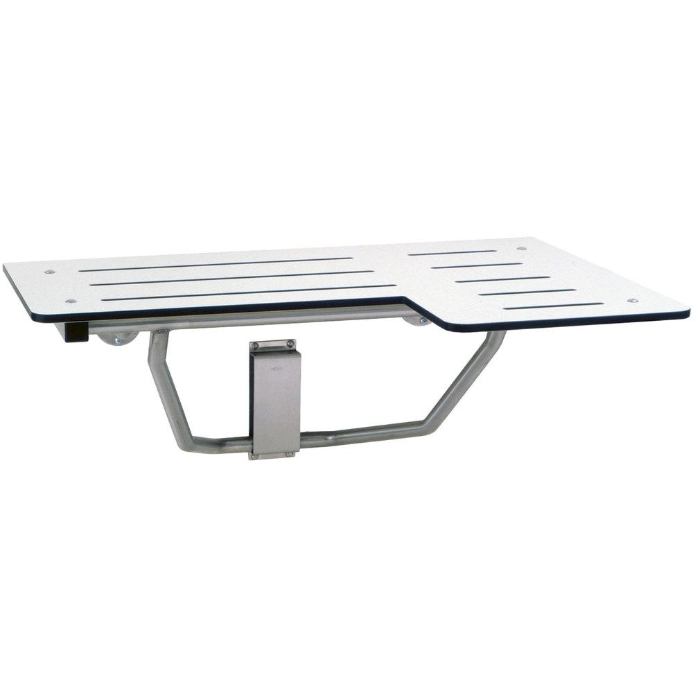 bobrick b5181 white reversible phenolic folding shower seat