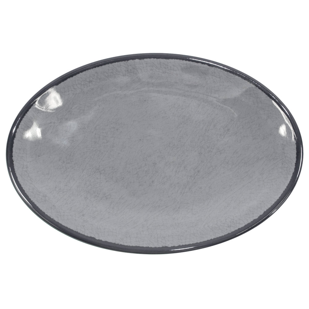 "Elite Global Solutions D8512OVM Mojave Vintage California 12 1/2"" x 8 1/2"" Gray Oval Crackle Plate - 6/Case"