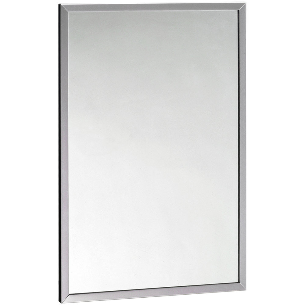 "Wall Mounted Mirror bobrick b-165 4836 48"" x 36"" wall mounted mirror with stainless"
