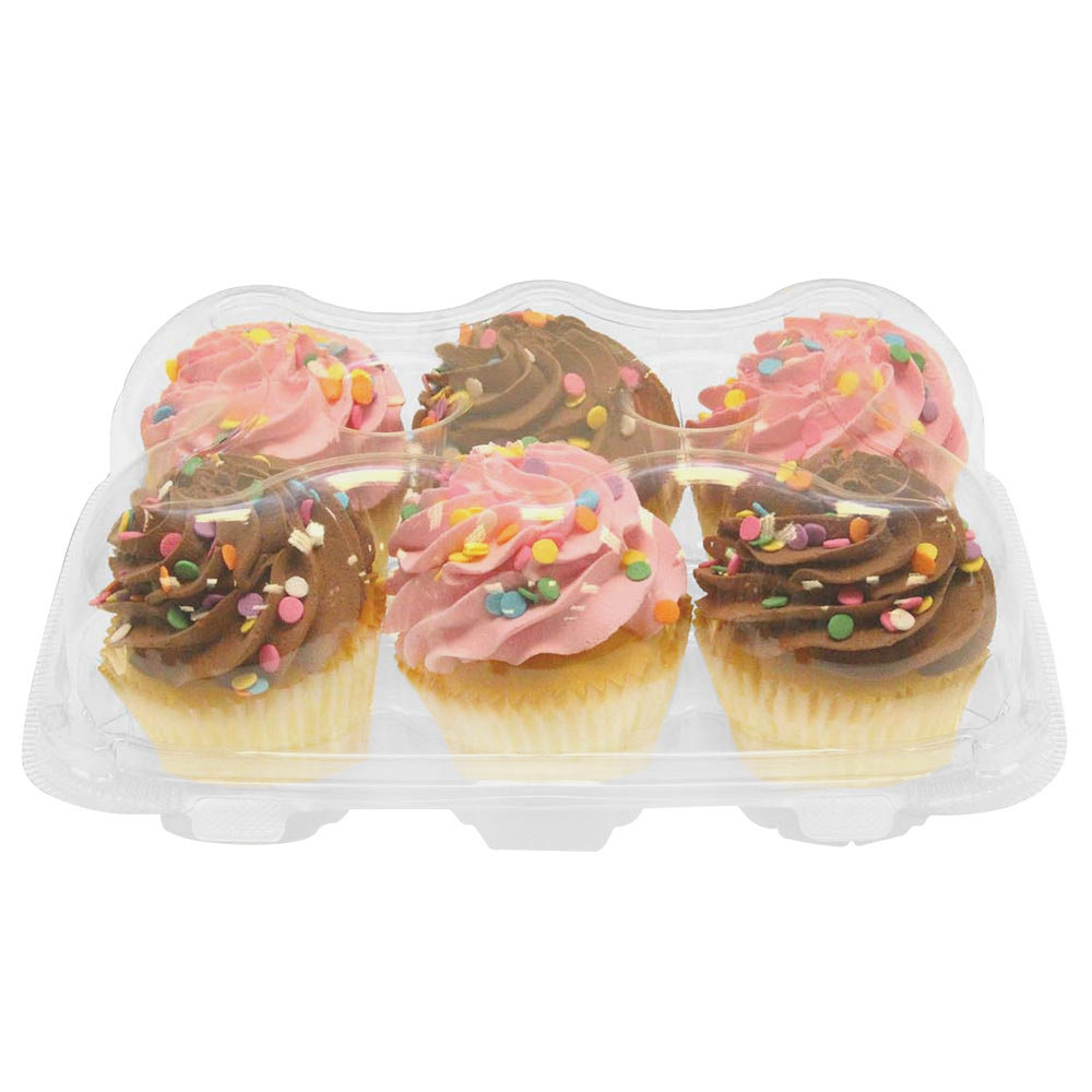 6 Compartment Clear Hinged High Dome Cupcake Container - 150 / Case