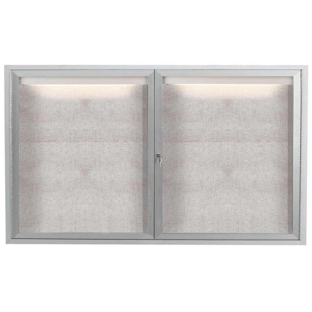 Aarco Lodcc3660r 36 X 60 Silver Enclosed Aluminum Indoor Outdoor Bulletin Board With Led Lighting