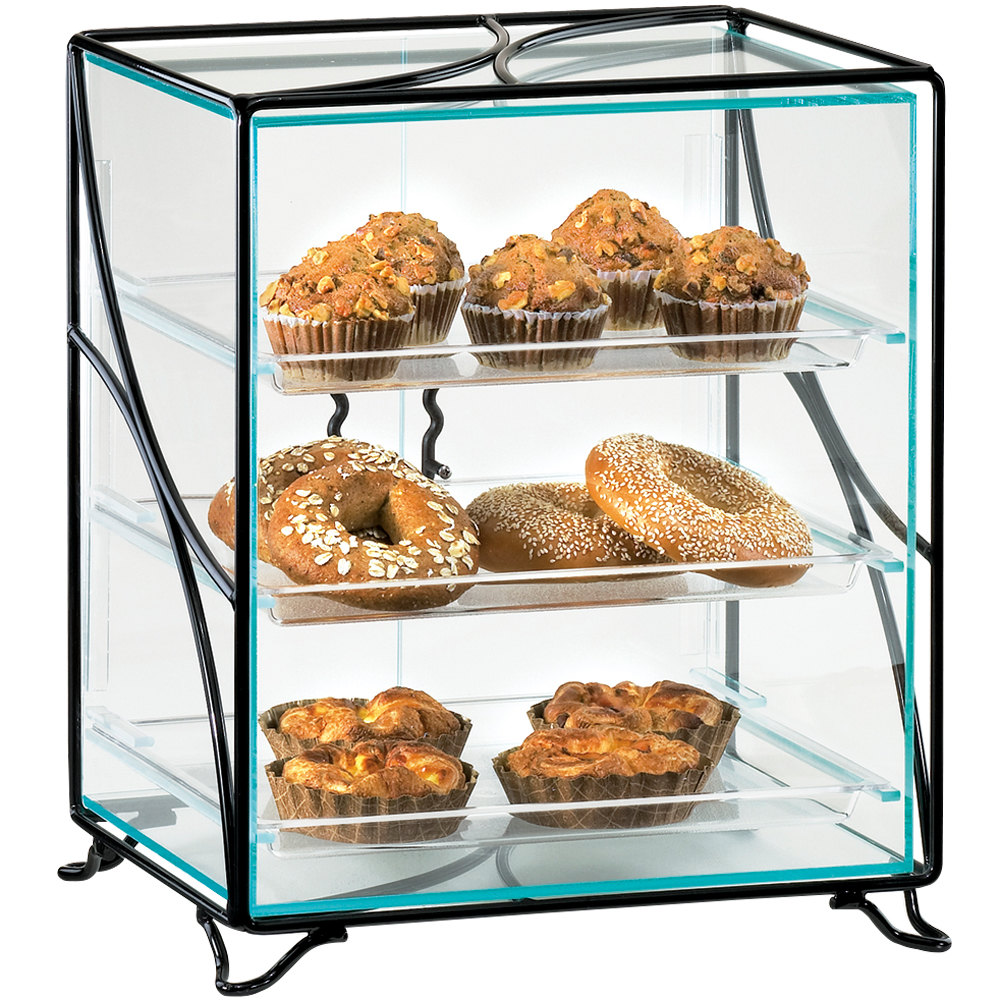 "Cal-Mil 1501-13 Glacier Three Tier Acrylic Display Case with Wire Frame - 16"" x 12"" x 19"""