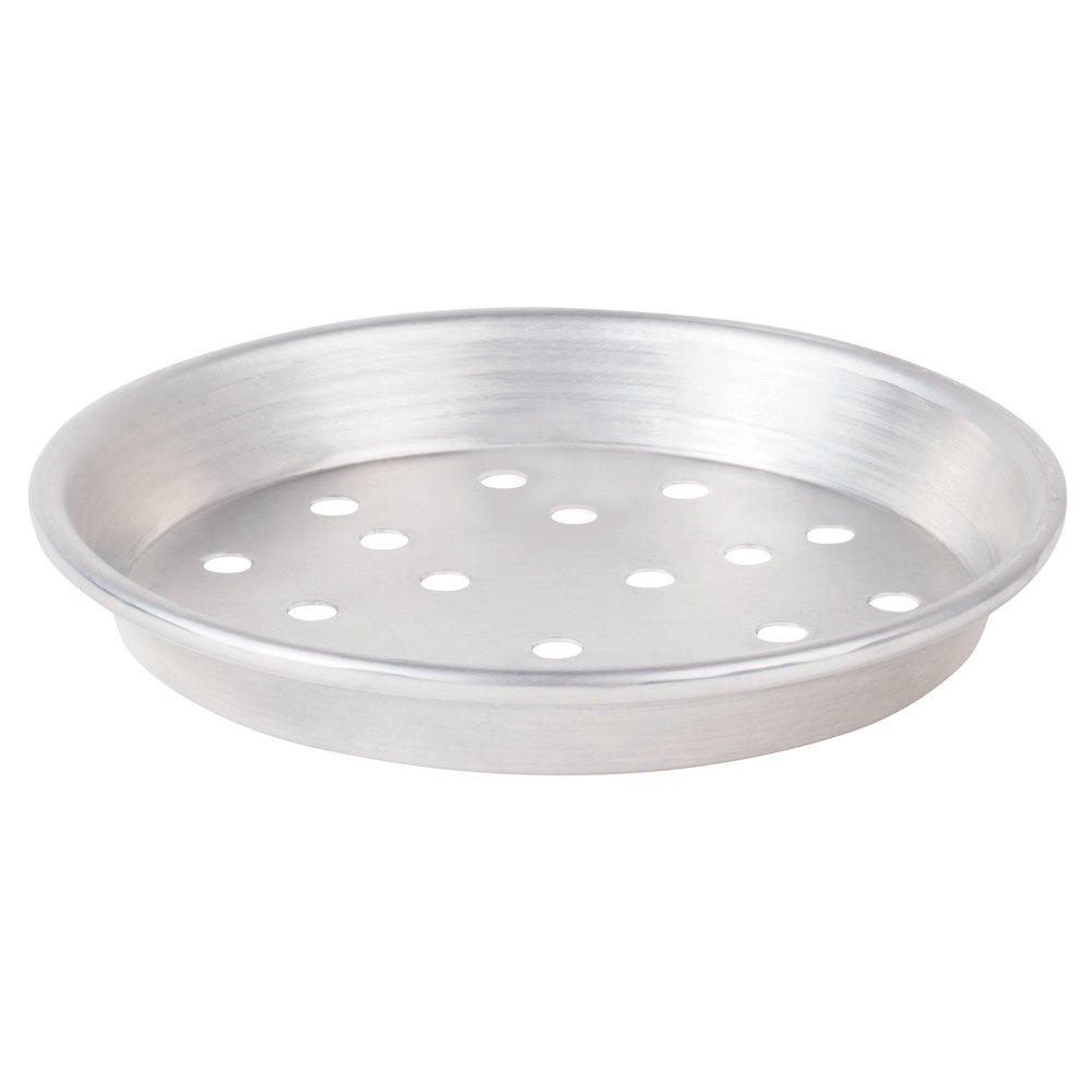 "American Metalcraft ADEP9P 9"" x 1"" Perforated Standard Weight Aluminum Tapered / Nesting Deep Dish Pizza Pan"