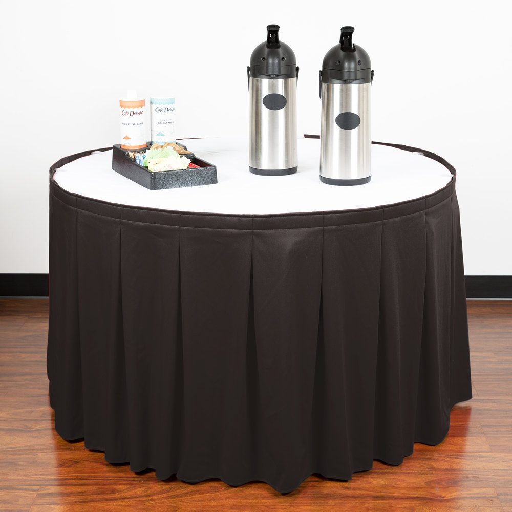 "Snap Drape WYN5V1329-CHAR Wyndham 13' x 29"" Charcoal Continuous Pleat Table Skirt with Velcro® Clips"