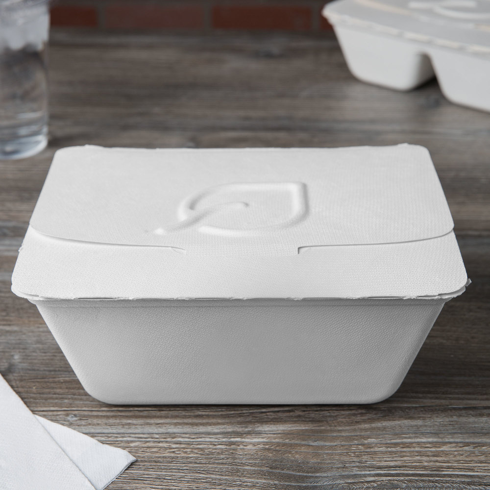 "Eco Products EP-FSC84 Folia 9"" x 7 1/2"" x 3 1/2"" 84 oz. White Renewable, Compostable Sugarcane Takeout Container - 50/Pack"