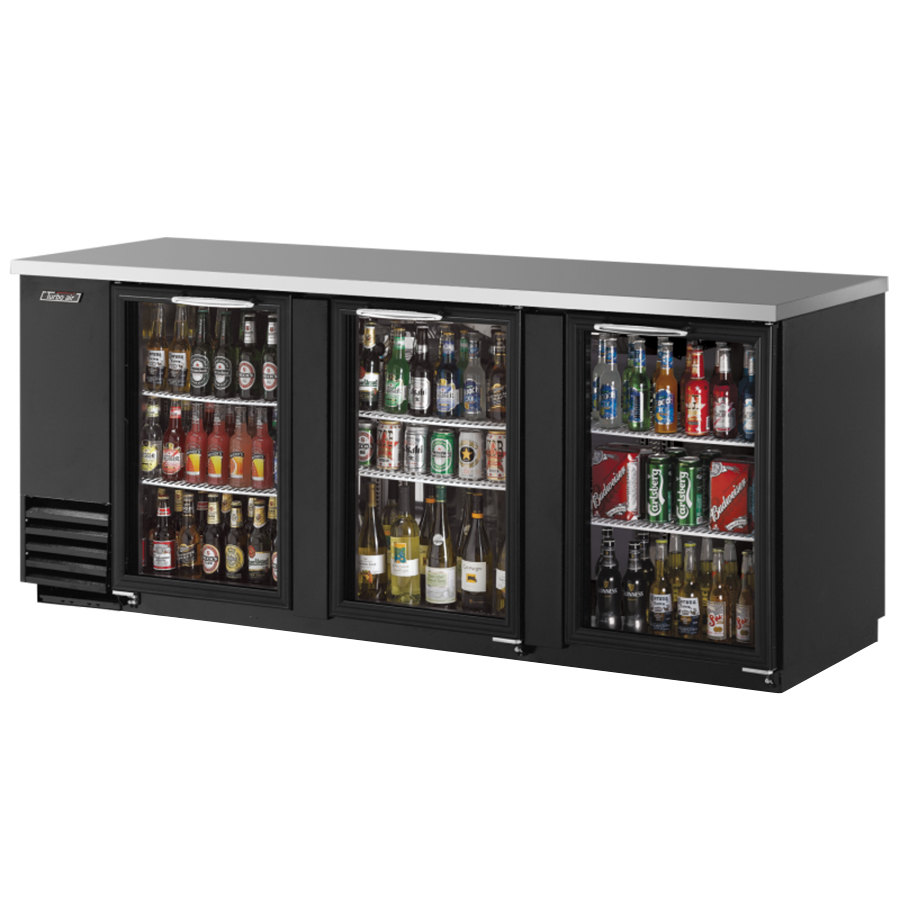 115 volts turbo air tbb4sg 90 inch three glass door back bar - Beverage Coolers