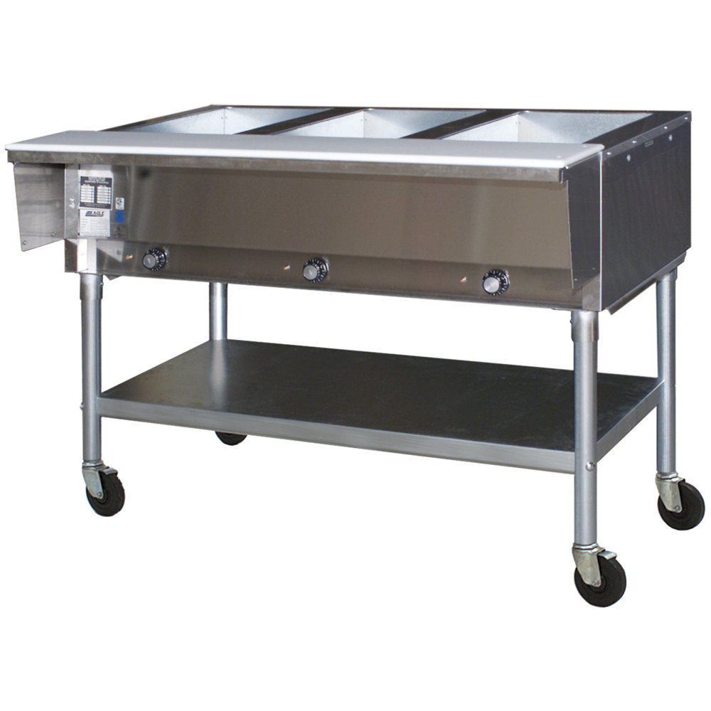 120V Eagle Group PDHT2 Portable Electric Hot Food Table - Two Pan - Open Well