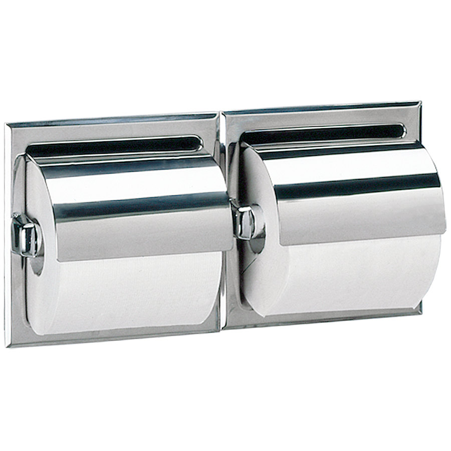 Bobrick b 699 recessed double toilet tissue dispenser with stainless steel hood and bright - Stainless steel toilet paper dispenser ...