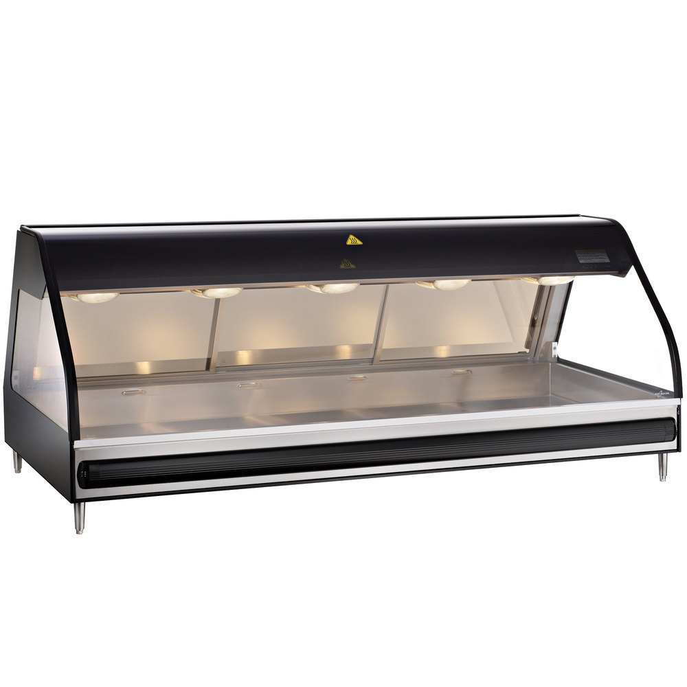 Alto-Shaam ED2-72/PR BK Black Heated Display Case with Curved Glass - Right Self Service 72""