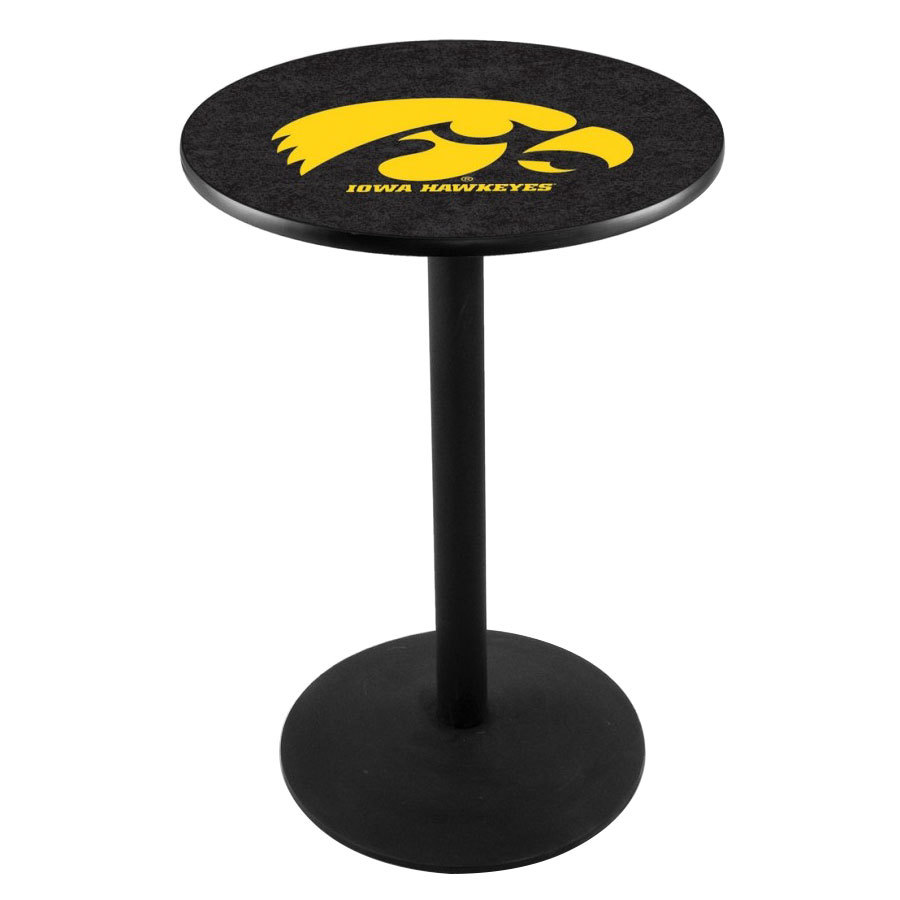 "Holland Bar Stool L214B36IOWAUN 28"" Round University of Iowa Pub Table with Round Base"