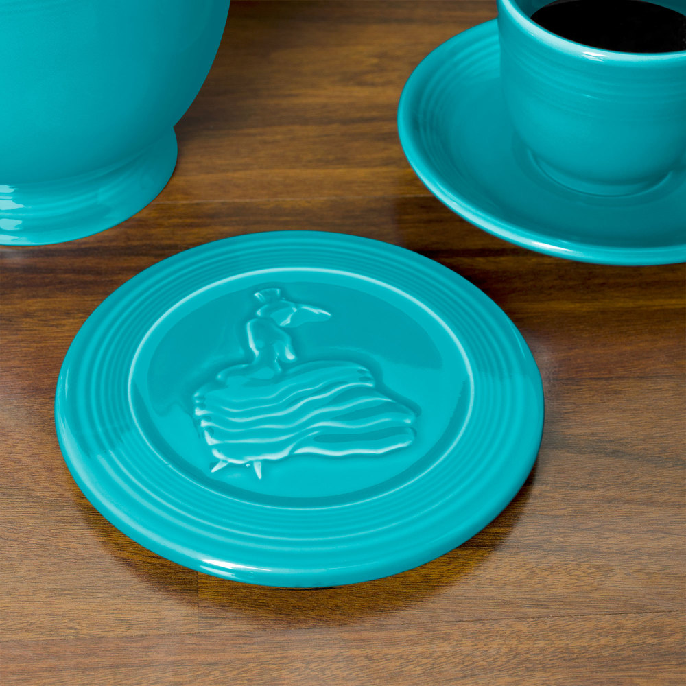 "Homer Laughlin 443107 Fiesta Turquoise 6"" Trivet - 6/Case"