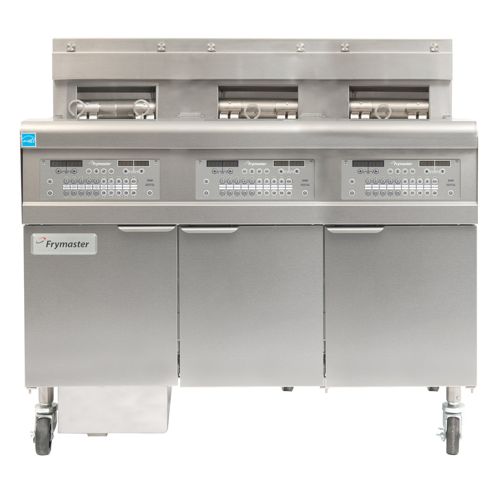 Frymaster FPGL330-2LCA Natural Gas Floor Fryer with Two Full Right Frypots / One Left Split Pot and Automatic Top Off - 225,000 BTU