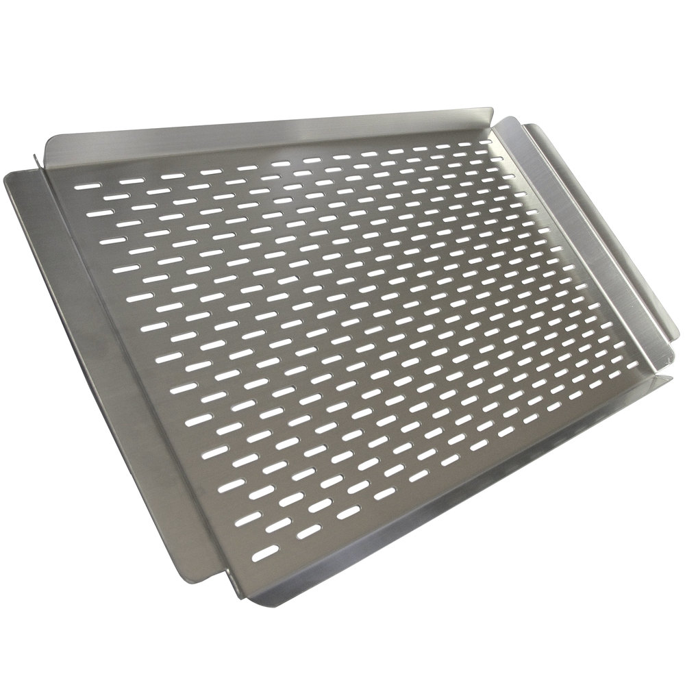 "Crown Verity PGT-1117 22"" x 13"" Perforated Stainless Steel Vegetable / Fish Grilling Tray"