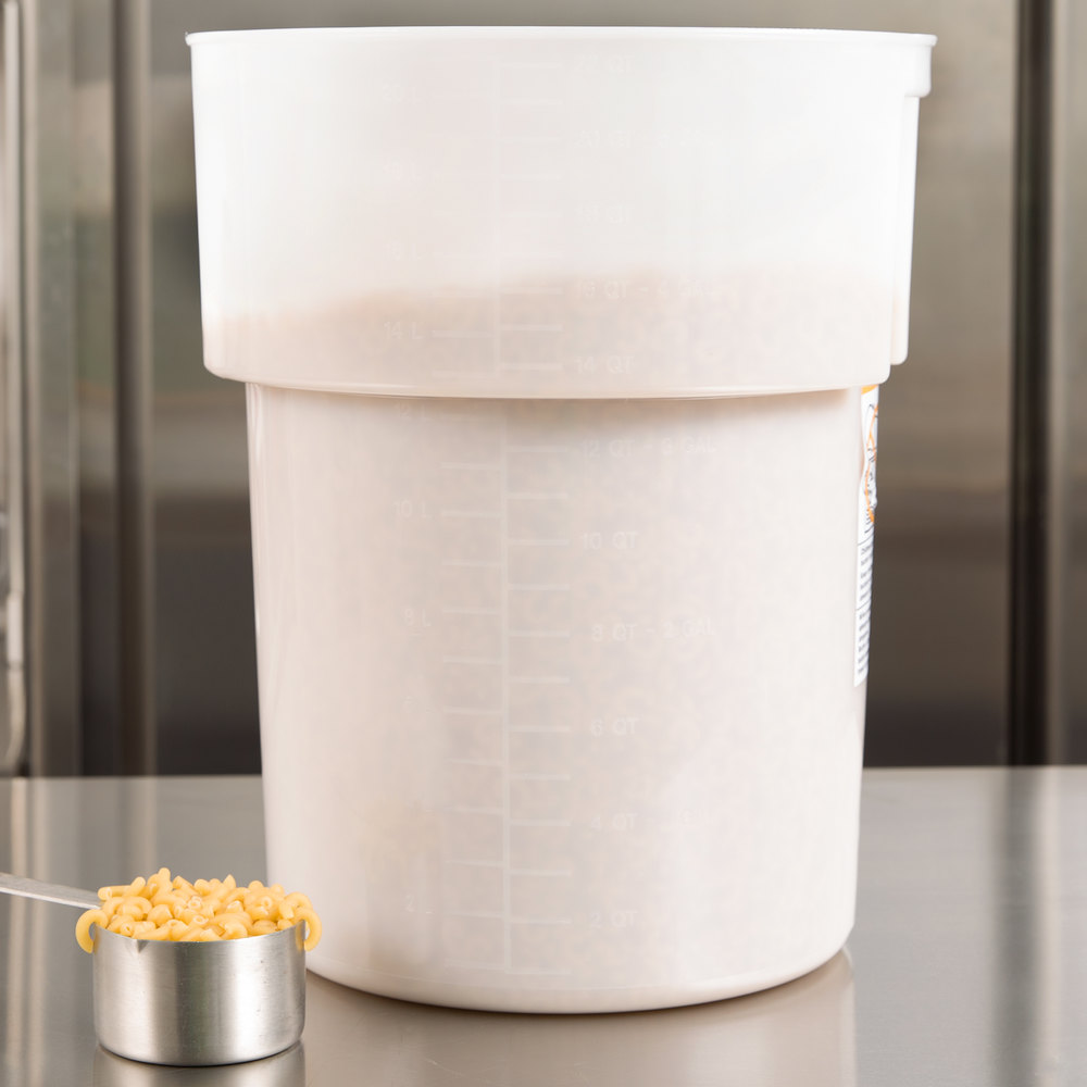 Carlisle 220002 22 Qt. White Round Food Storage Container