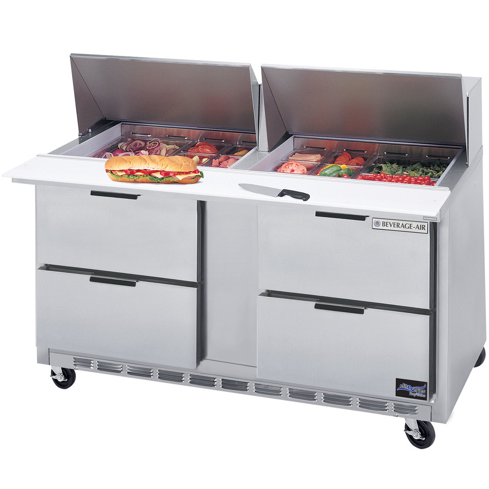 "Beverage-Air SPED60-24M-4 60"" Mega Top Four Drawer Refrigerated Salad / Sandwich Prep Table"