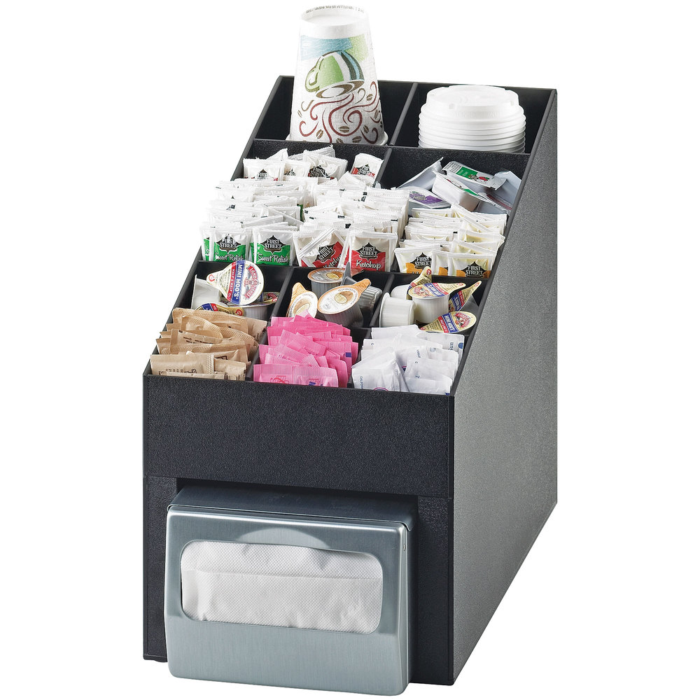 "Cal-Mil 2042 Classic Black Cup / Lid / Condiment Organizer with Napkin Dispenser Slot - 10"" x 17 1/4"" x 14 3/4"""