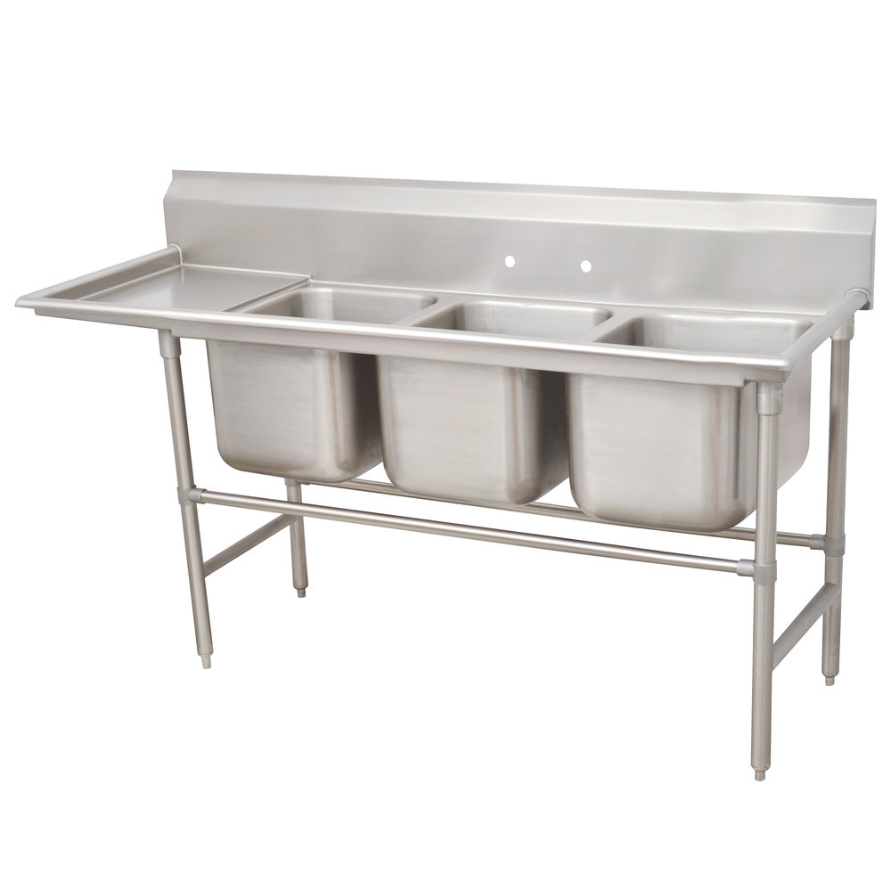 Left Drainboard Advance Tabco 94-23-60-24 Spec Line Three Compartment Pot Sink with One Drainboard - 95""