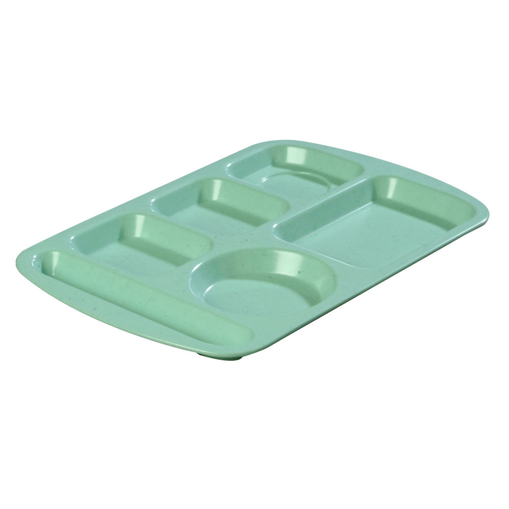 "Carlisle 586500 Variegated 10"" x 14"" Melamine Right Hand 6 Compartment Tray"
