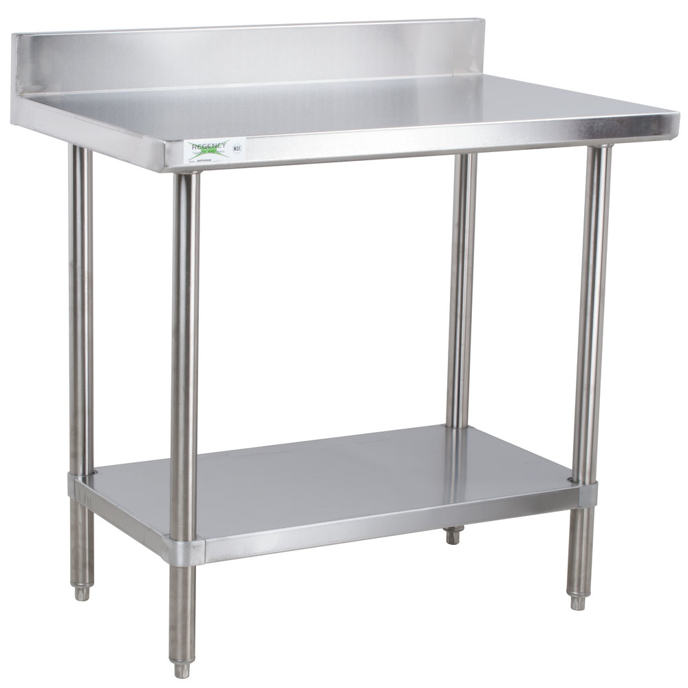 Regency 24 x 36 16 gauge stainless steel commercial work table with 4 backsplash and undershelf - Stainless kitchen tables ...