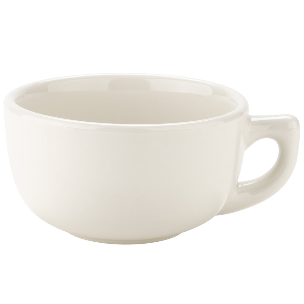 Tuxton BEF-1402 DuraTux 14 oz. Ivory (American White) Jumbo China Cappuccino Cup - 24/Case