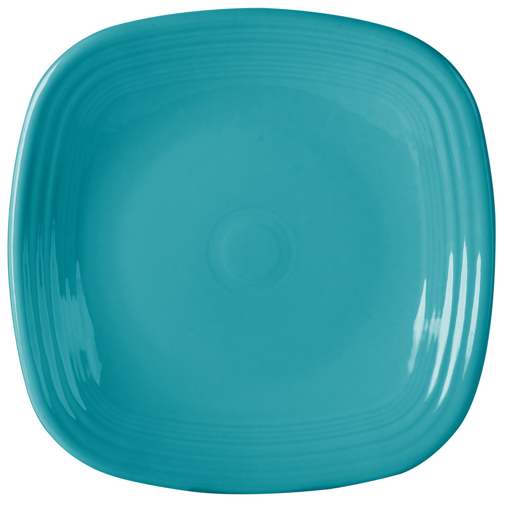 "Homer Laughlin 919107 Fiesta Turquoise 10 3/4"" Square Plate - 12/Case"