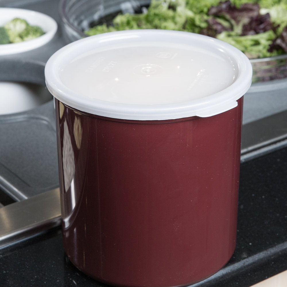 Cambro CP27195 Reddish Brown Round Crock with Lid 2.7 Qt. - 6/Case