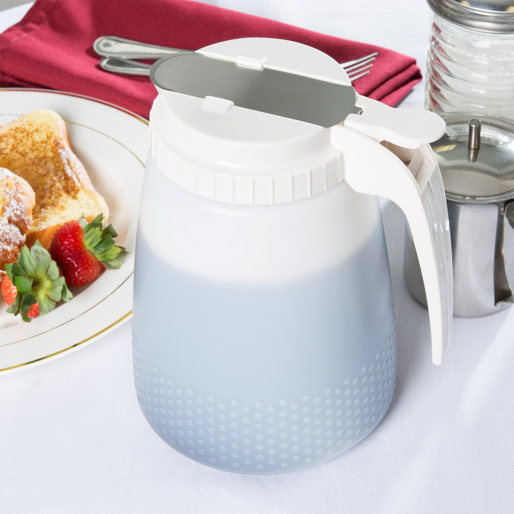 Tablecraft 748W White 48 oz. Polyethylene All Purpose Dispenser with ABS Top