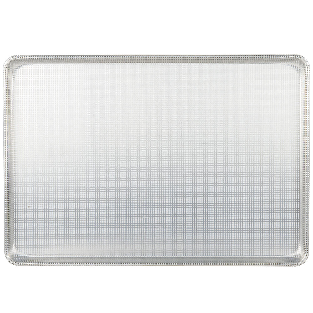 "Chicago Metallic 44692 Fully Perforated Full Size 16 Gauge Glazed Aluminum Sheet Pan - Wire in Rim, 18"" x 26"""