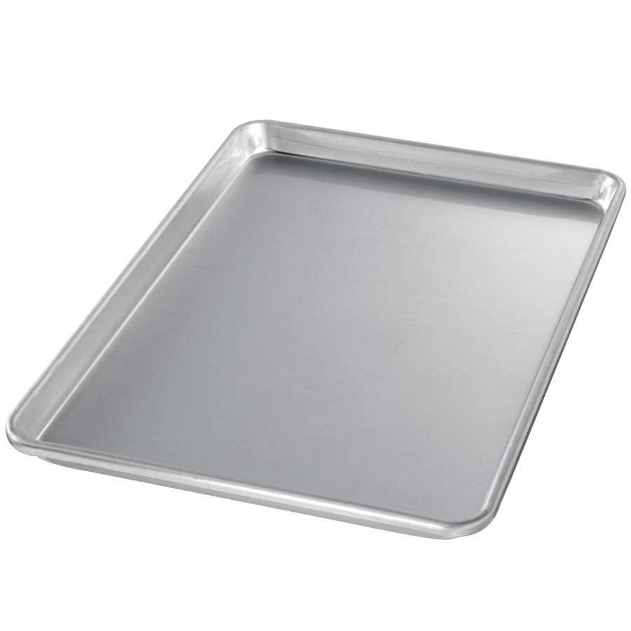 "Chicago Metallic 40955 Half Size 14 Gauge Glazed Aluminum Sheet Pan - Sanitary Open Bead/Semi-Curled Rim, 13"" x 18"""