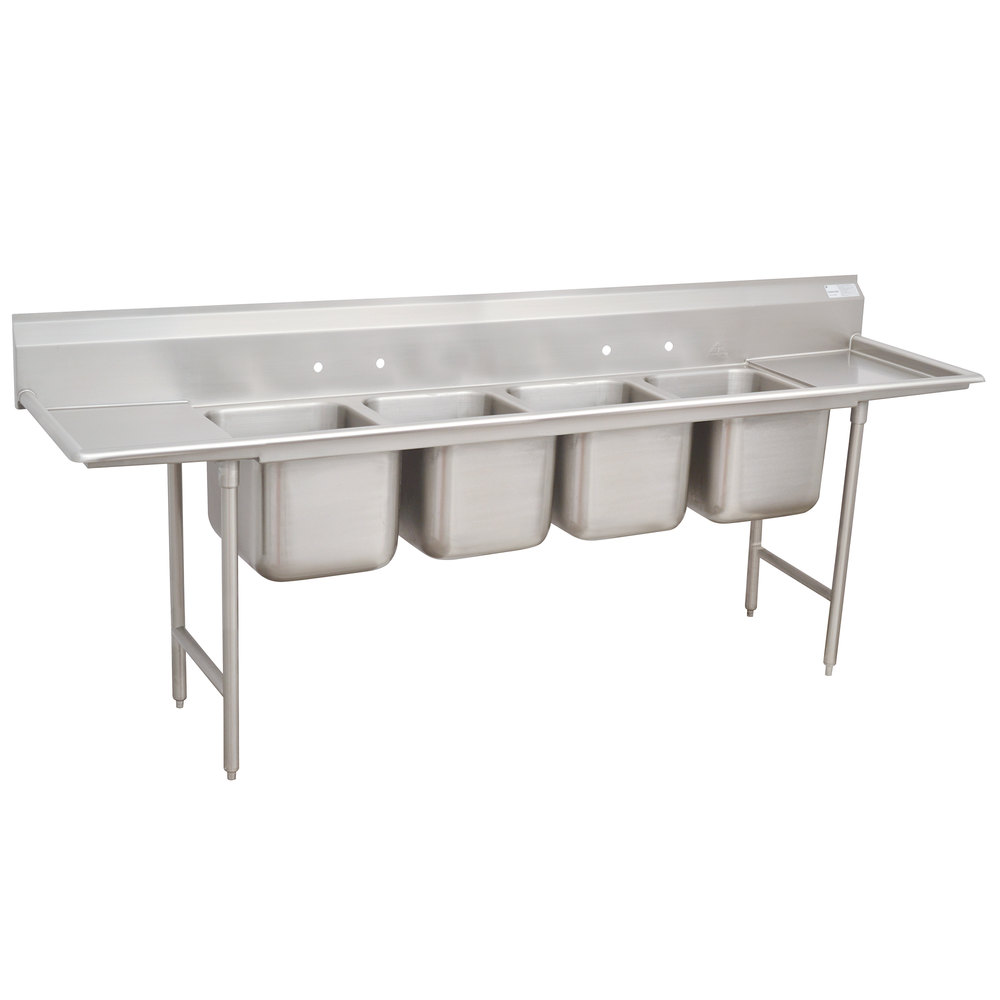 Advance Tabco 94-64-72-24RL Spec Line Four Compartment Pot Sink with Two Drainboards - 130""