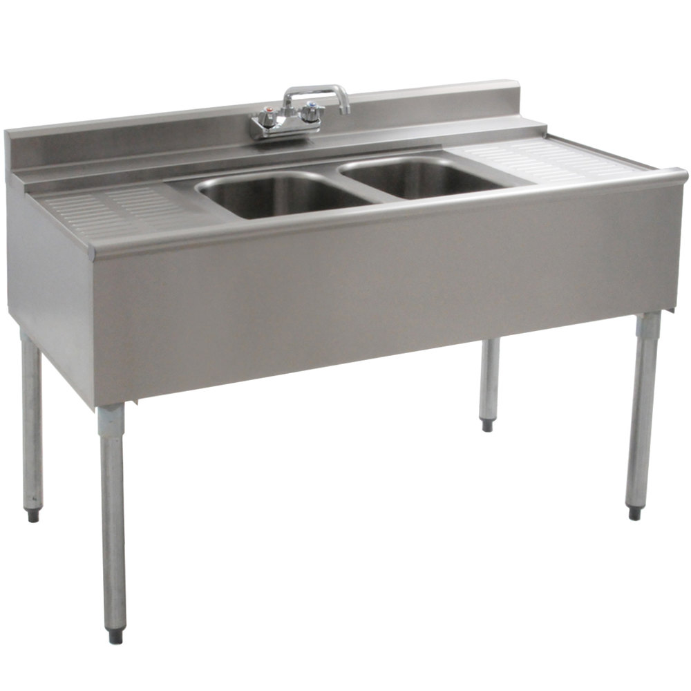 "Eagle Group B4C-2-22 48"" Underbar Sink with Two Compartments and Two Drainboards"