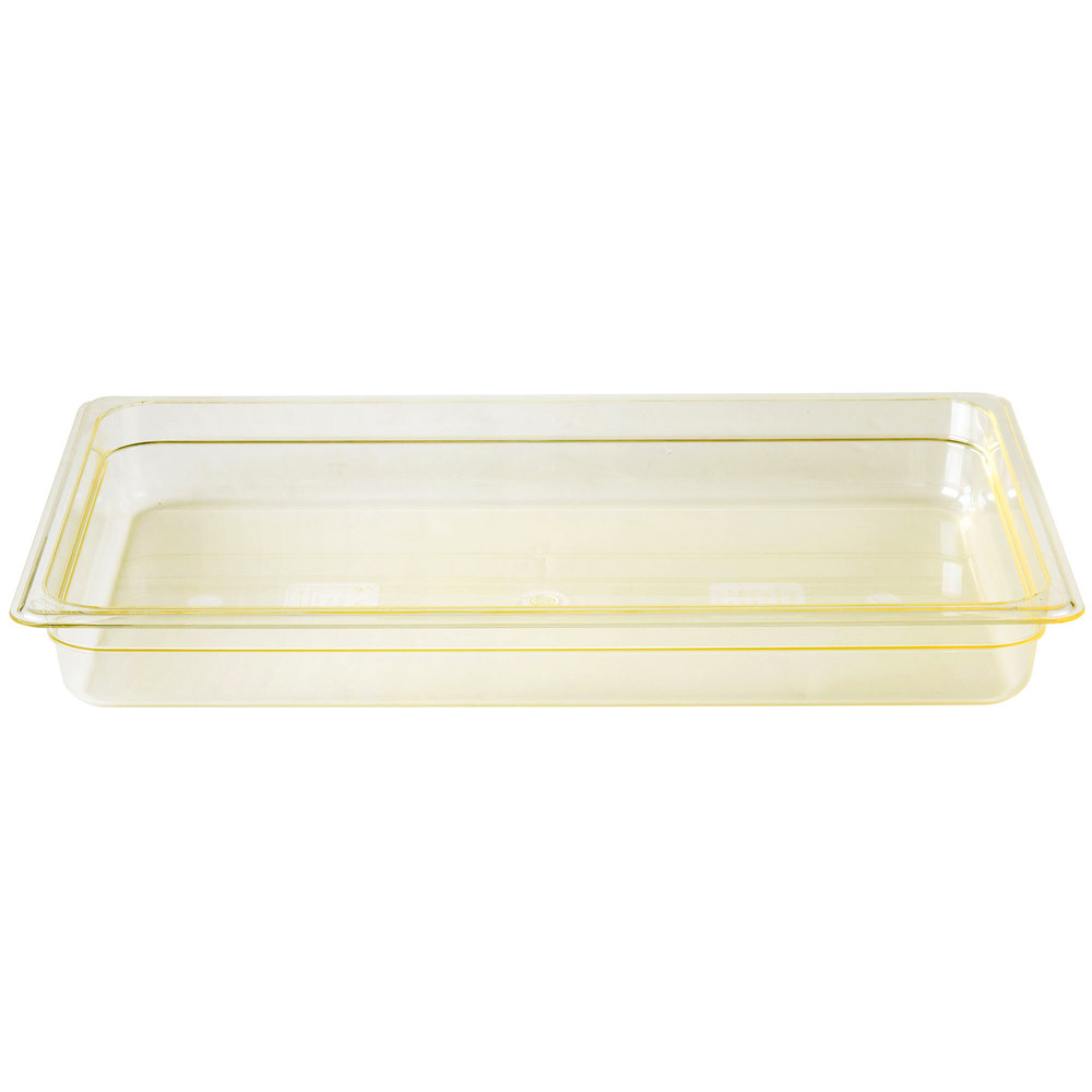 "Cambro 12HP150 H-Pan Full Size Amber High Heat Food Pan - 2 1/2"" Deep"
