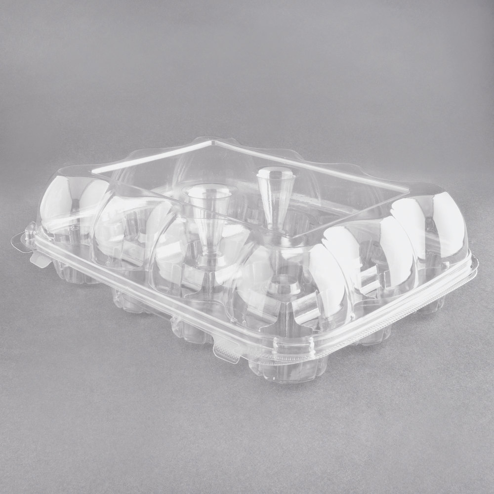 12 Compartment Clear Hinged High Dome Cupcake Container