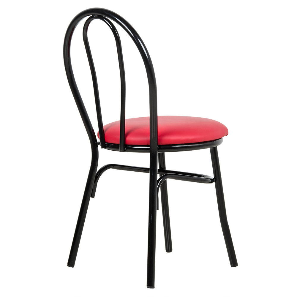 Lancaster table seating red hairpin cafe chair with 1 1 for Hairpin cafe chair