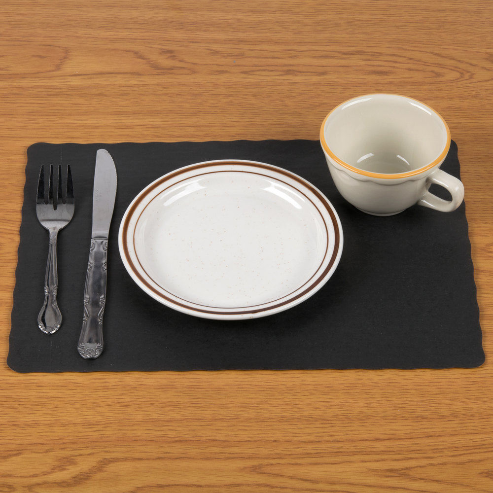 "10"" x 14"" Black Colored Paper Placemat with Scalloped Edge - 1000 / Case"